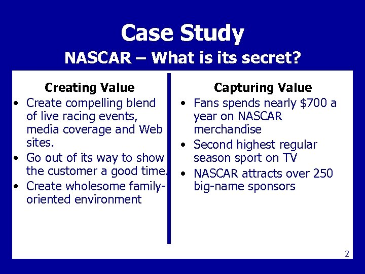Case Study NASCAR – What is its secret? Creating Value Capturing Value • Create
