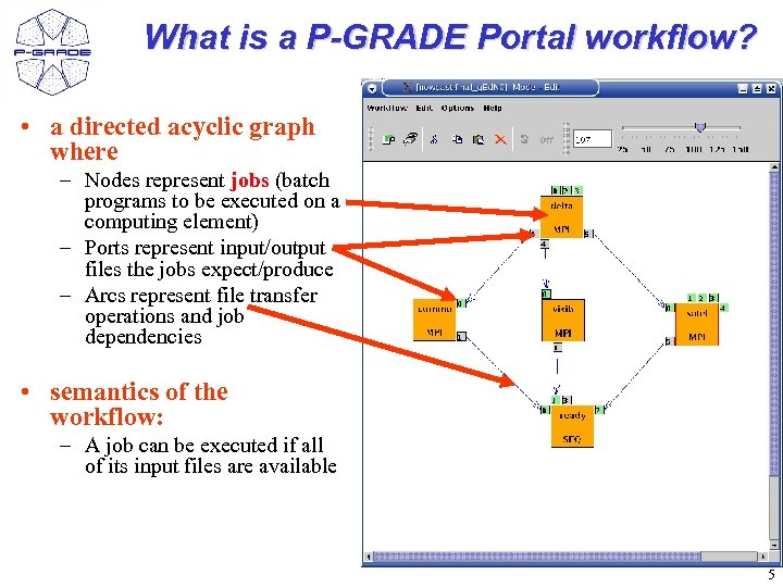 What is a P-GRADE Portal workflow? • a directed acyclic graph where – Nodes