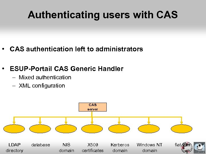 Authenticating users with CAS • CAS authentication left to administrators • ESUP-Portail CAS Generic