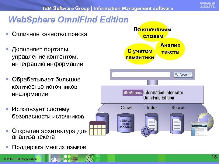 IBM Software Group   Information Management software Web. Sphere Omni. Find Edition По ключевым