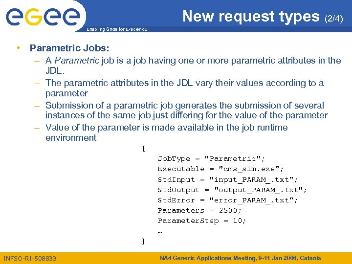 New request types (2/4) Enabling Grids for E-scienc. E • Parametric Jobs: – A