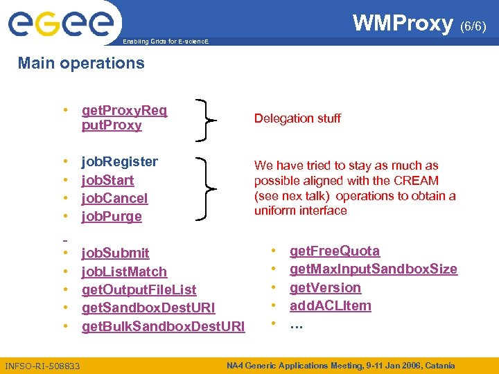 WMProxy (6/6) Enabling Grids for E-scienc. E Main operations • get. Proxy. Req put.