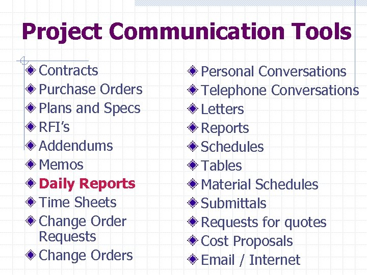 Project Communication Tools Contracts Purchase Orders Plans and Specs RFI's Addendums Memos Daily Reports