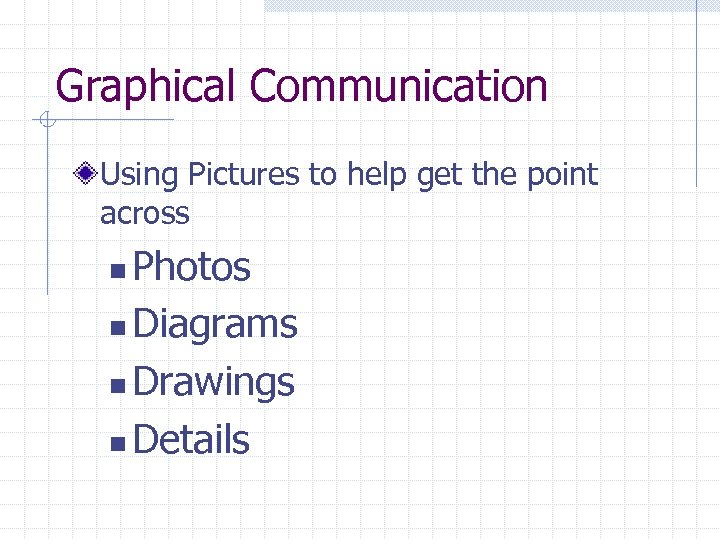 Graphical Communication Using Pictures to help get the point across Photos n Diagrams n