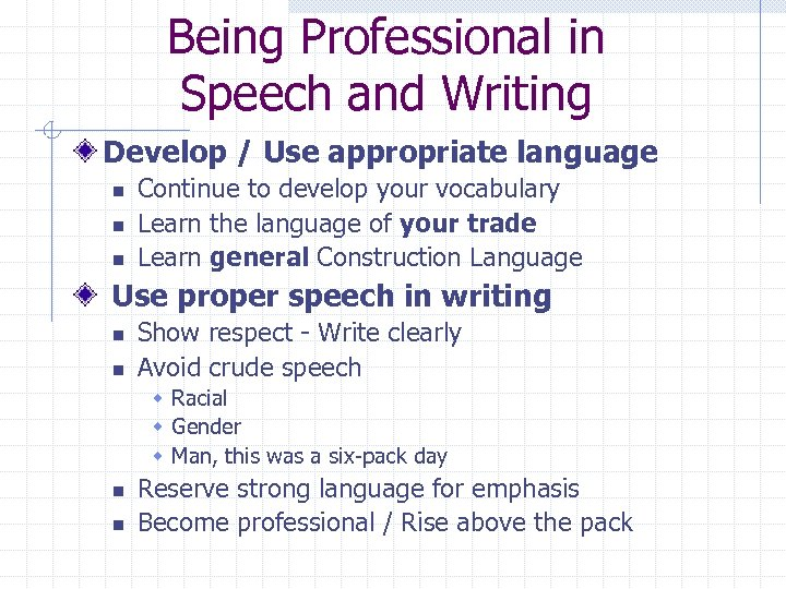 Being Professional in Speech and Writing Develop / Use appropriate language n n n