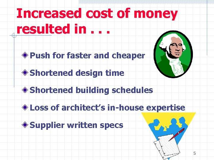 Increased cost of money resulted in. . . Push for faster and cheaper Shortened