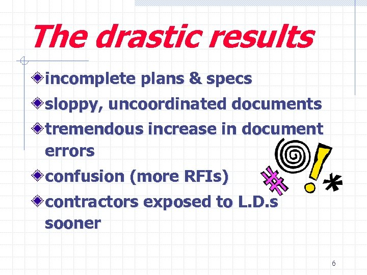 The drastic results incomplete plans & specs sloppy, uncoordinated documents tremendous increase in document