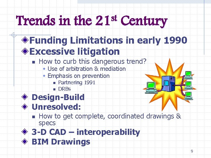 Trends in the st 21 Century Funding Limitations in early 1990 Excessive litigation n