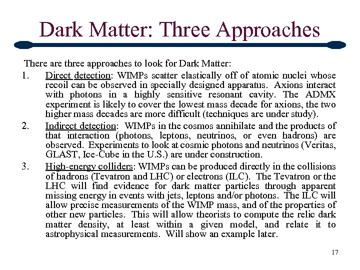 Dark Matter: Three Approaches There are three approaches to look for Dark Matter: 1.