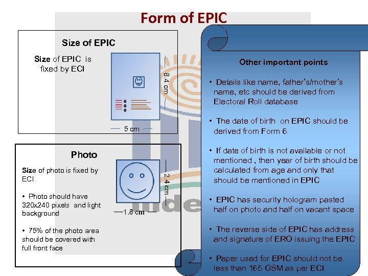 Form of EPIC Size of EPIC is fixed by ECI Other important points 8.