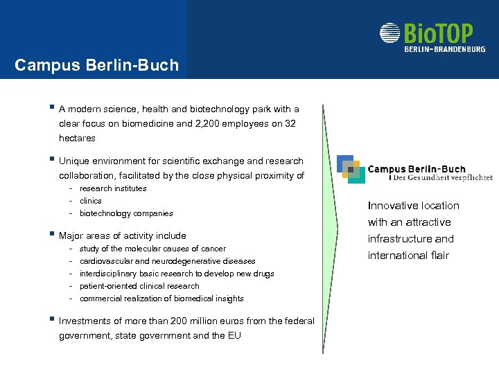 Campus Berlin-Buch § A modern science, health and biotechnology park with a clear focus