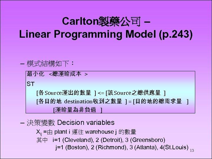 Carlton製藥公司 – Linear Programming Model (p. 243) – 模式結構如下: 最小化 <總運輸成本 > ST [各
