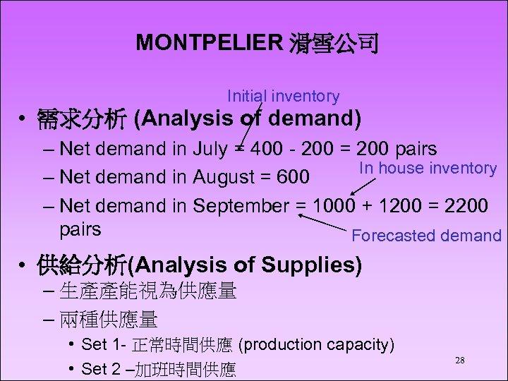 MONTPELIER 滑雪公司 Initial inventory • 需求分析 (Analysis of demand) – Net demand in July
