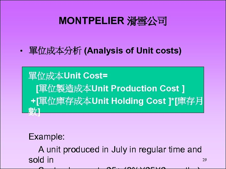 MONTPELIER 滑雪公司 • 單位成本分析 (Analysis of Unit costs) 單位成本Unit Cost= [單位製造成本Unit Production Cost ]