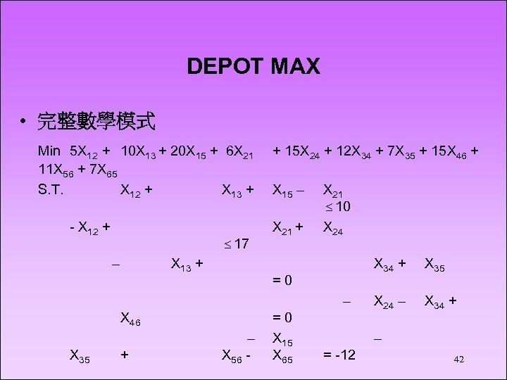 DEPOT MAX • 完整數學模式 Min 5 X 12 + 10 X 13 + 20
