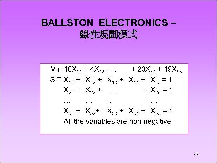 BALLSTON ELECTRONICS – 線性規劃模式 Min 10 X 11 + 4 X 12 + …