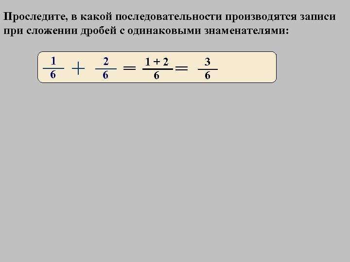 Проследите, в какой последовательности производятся записи при сложении дробей с одинаковыми знаменателями: 1 6