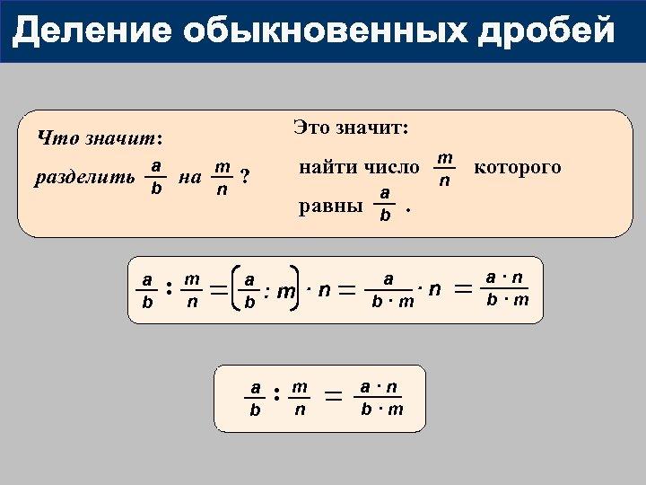 Это значит: Что значит: разделить a b на : m n m найти число