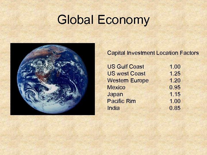 Global Economy Capital Investment Location Factors US Gulf Coast US west Coast Western Europe