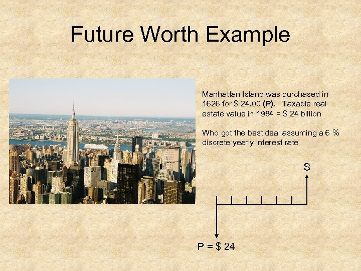 Future Worth Example Manhattan Island was purchased in 1626 for $ 24. 00 (P).