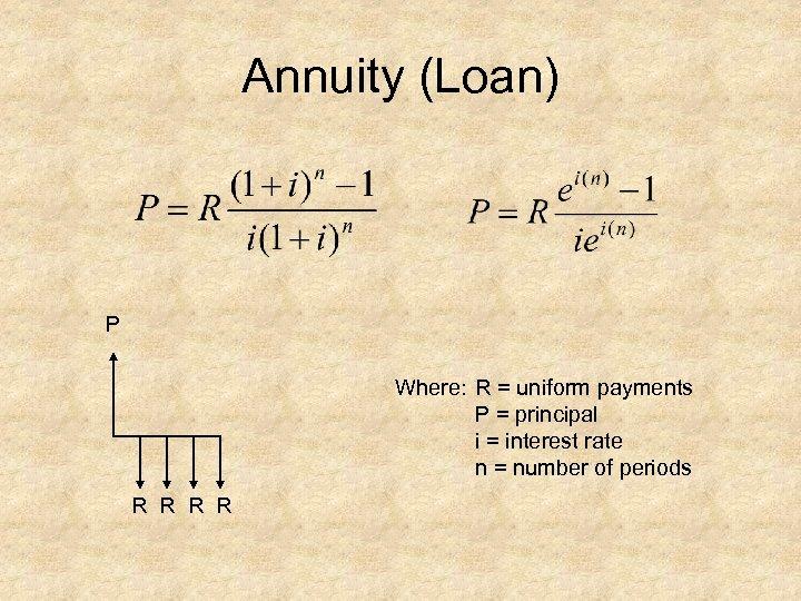 Annuity (Loan) P Where: R = uniform payments P = principal i = interest