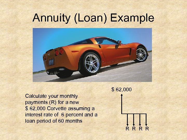 Annuity (Loan) Example $ 62, 000 Calculate your monthly payments (R) for a new