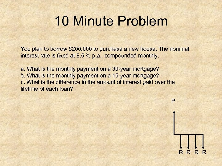 10 Minute Problem You plan to borrow $200, 000 to purchase a new house.