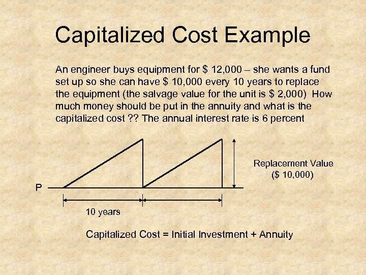 Capitalized Cost Example An engineer buys equipment for $ 12, 000 – she wants