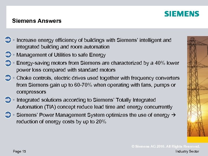 Siemens Answers § Increase energy efficiency of buildings with Siemens' intelligent and integrated building