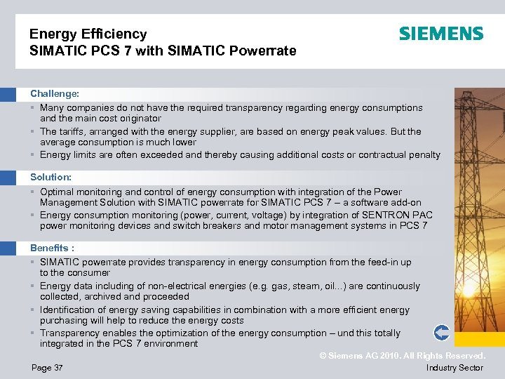 Energy Efficiency SIMATIC PCS 7 with SIMATIC Powerrate Challenge: § Many companies do not