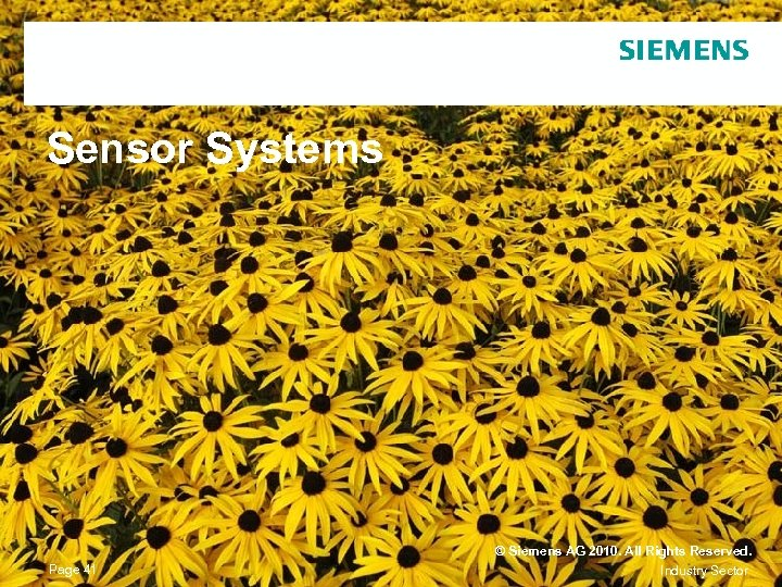 Sensor Systems Page 41 © Siemens AG 2010. All Rights Reserved. Industry Sector