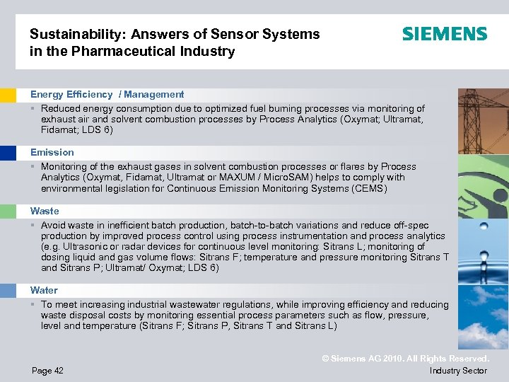 Sustainability: Answers of Sensor Systems in the Pharmaceutical Industry Energy Efficiency / Management §