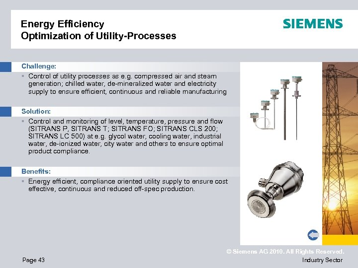 Energy Efficiency Optimization of Utility-Processes Challenge: § Control of utility processes as e. g.