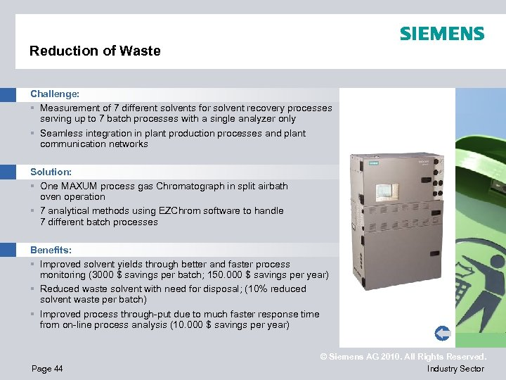 Reduction of Waste Challenge: § Measurement of 7 different solvents for solvent recovery processes