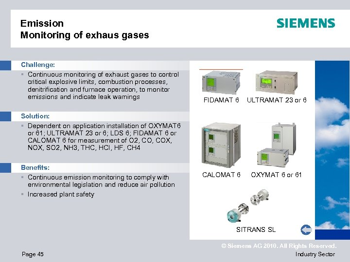 Emission Monitoring of exhaus gases Challenge: § Continuous monitoring of exhaust gases to control