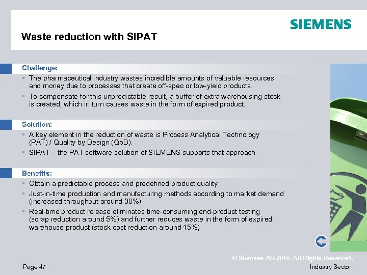 Waste reduction with SIPAT Challenge: § The pharmaceutical industry wastes incredible amounts of valuable