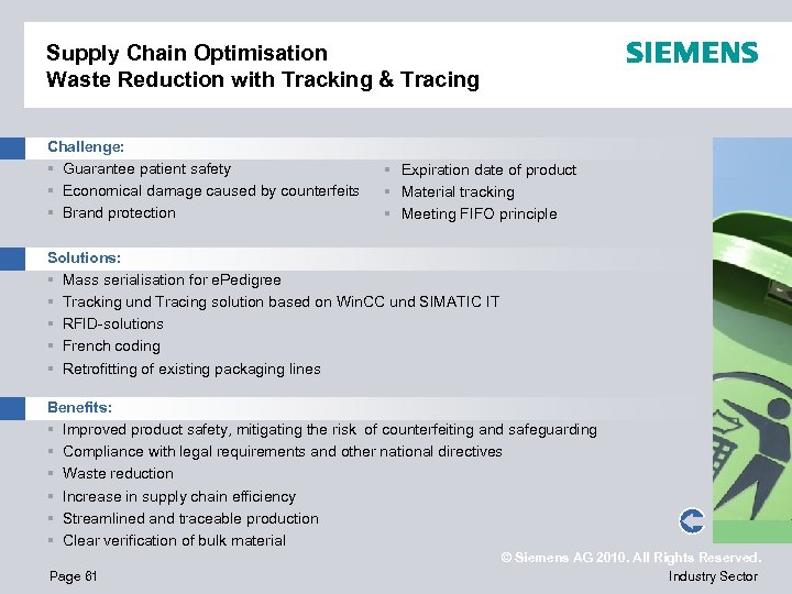 Supply Chain Optimisation Waste Reduction with Tracking & Tracing Challenge: § Guarantee patient safety