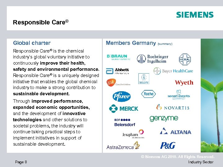 Responsible Care® Global charter Members Germany (summary) Responsible Care® is the chemical industry's global