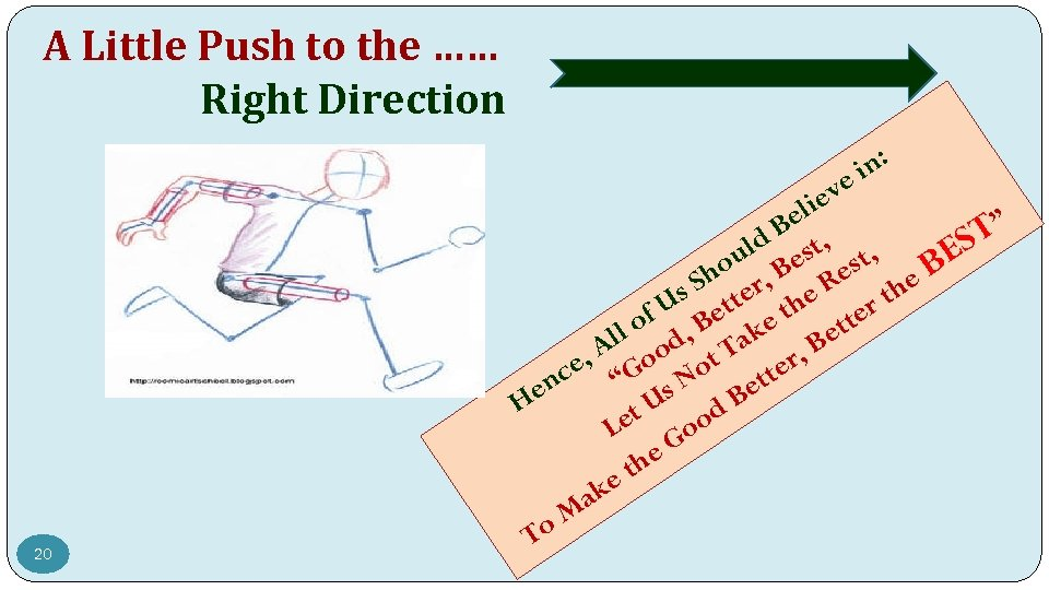 A Little Push to the …… Right Direction ve ie 20 n: i el