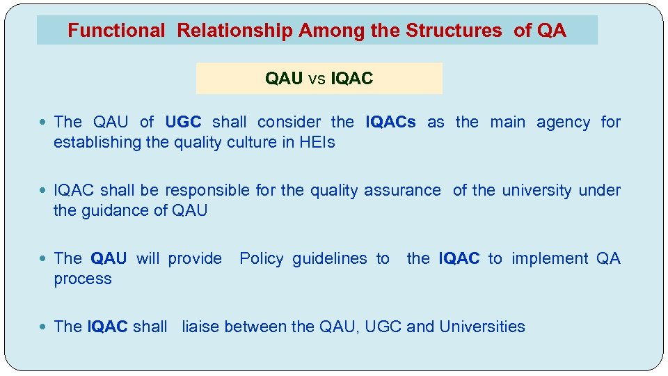 Functional Relationship Among the Structures of QA QAU vs IQAC The QAU of UGC
