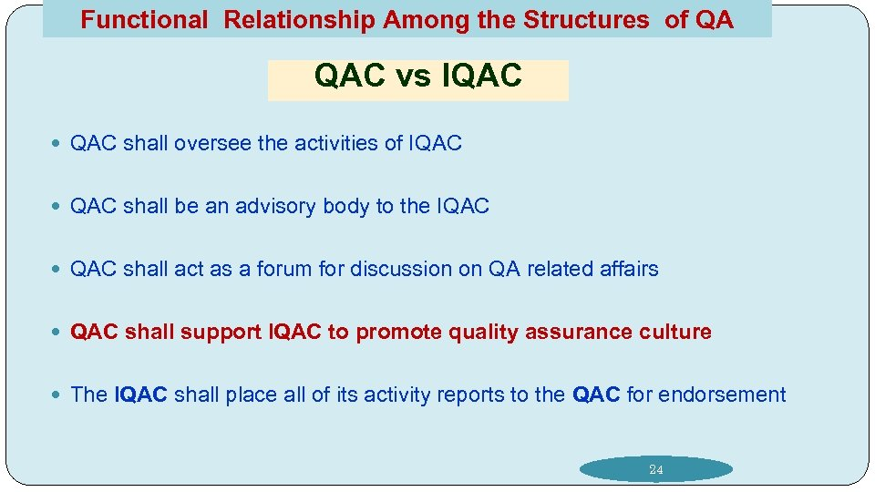 Functional Relationship Among the Structures of QA QAC vs IQAC shall oversee the activities