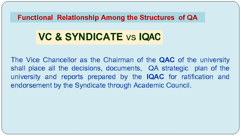 Functional Relationship Among the Structures of QA VC & SYNDICATE vs IQAC The Vice