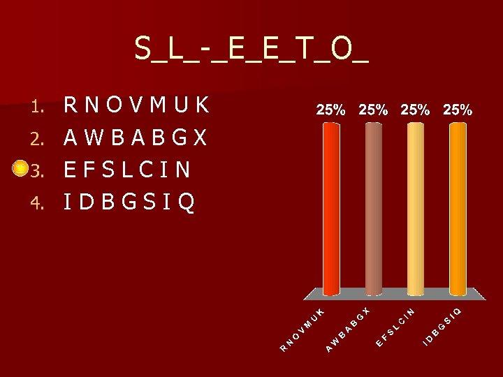 S_L_-_E_E_T_O_ 1. 2. 3. 4. RNOVMUK AWBABGX EFSLCIN IDBGSIQ
