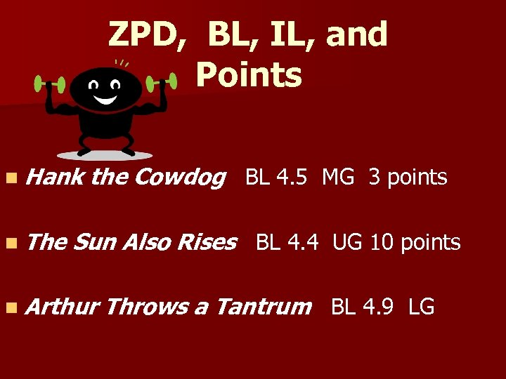 ZPD, BL, IL, and Points n Hank n The the Cowdog BL 4. 5