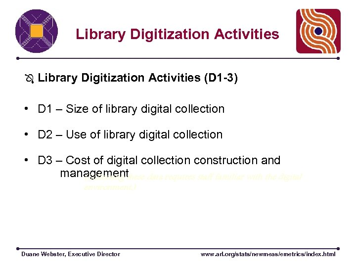 Library Digitization Activities (D 1 -3) • D 1 – Size of library digital