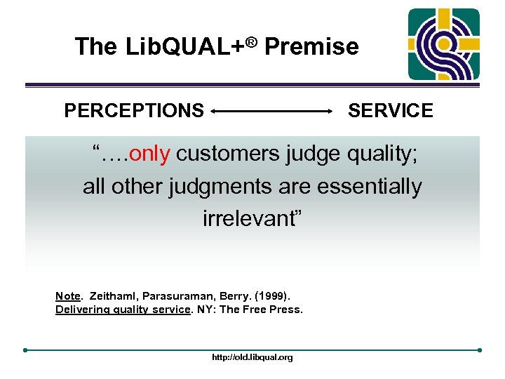 "The Lib. QUAL+® Premise PERCEPTIONS SERVICE ""…. only customers judge quality; all other judgments"