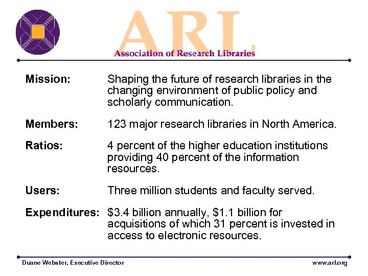 Mission: Shaping the future of research libraries in the changing environment of public policy