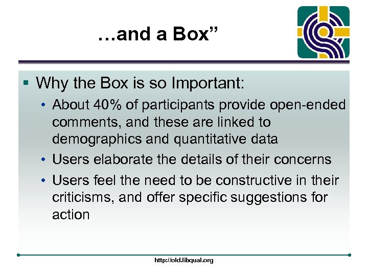 "…and a Box"" § Why the Box is so Important: • About 40% of"