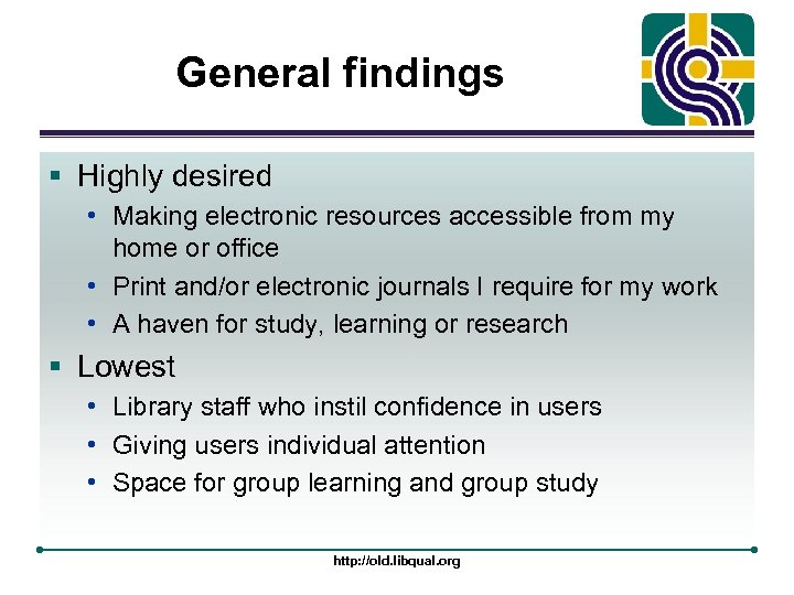 General findings § Highly desired • Making electronic resources accessible from my home or