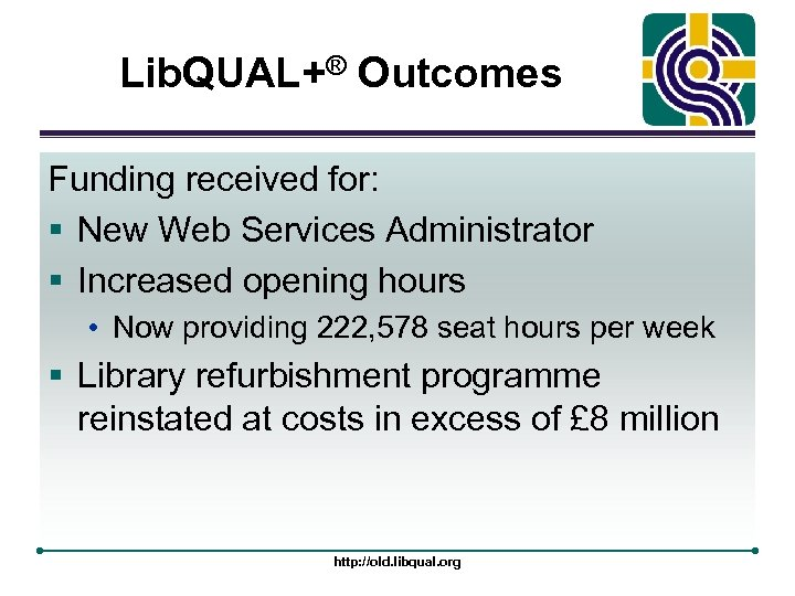 Lib. QUAL+® Outcomes Funding received for: § New Web Services Administrator § Increased opening